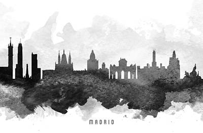 Spain Painting - Madrid Cityscape 11 by Aged Pixel