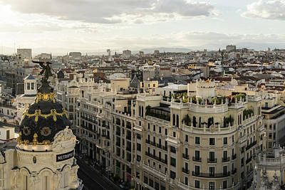 Photograph - Madrid From Above - A Cityscape With Gran Via And The Famous Metropolis Building by Georgia Mizuleva