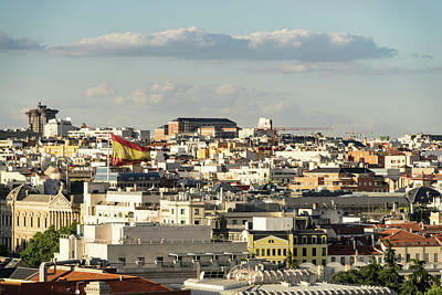 Photograph - Madrid From Above - Hot Rooftops And A Giant Spanish Flag by Georgia Mizuleva
