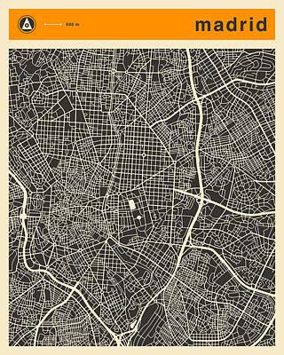 Spain Digital Art - Madrid Map by Jazzberry Blue