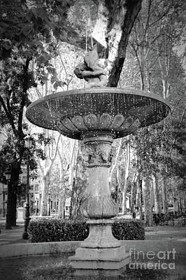 Photograph - Madrid Merboy Fountain Black And White by Carol Groenen
