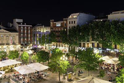 Photograph - Madrid Nightlife - The Fabulous Plaza De Santa Ana At Night by Georgia Mizuleva