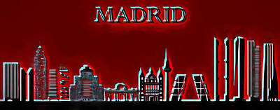 Painting - Madrid Skyline Pop by Dan Sproul