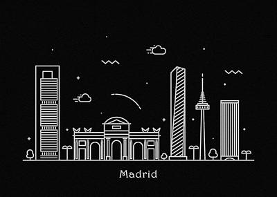 Drawing - Madrid Skyline Travel Poster by Inspirowl Design