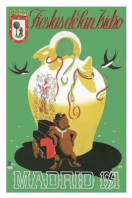 Madrid Wall Art - Digital Art - Madrid Spain 1951 Fiestas De San Isidro Vintage World Travel Poster by Retro Graphics