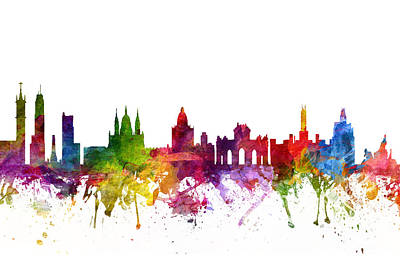 Rainbow Colors Digital Art - Madrid Spain Cityscape 06 by Aged Pixel