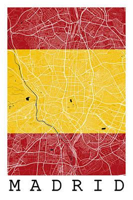 Flag Digital Art - Madrid Street Map - Madrid Spain Road Map Art On Spanish Flag by Jurq Studio