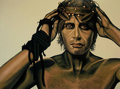 Video Painting - Mads Mikkelsen Painting by Paul Meijering