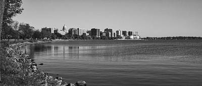 Madsion Skyline From John Nolan Drive - Black And White Art Print by Steven Ralser