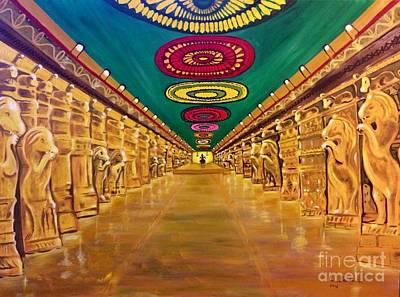 Painting - Madurai Meenakshi Temple Mandapam by Brindha Naveen