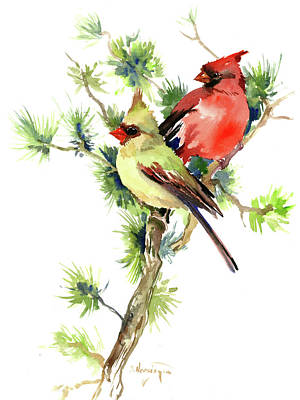 Painting - Mae And Female Cardinal Birds by Suren Nersisyan