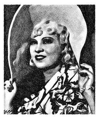 Musicians Drawings - Mae West, Vintage Actress by JS by Esoterica Art Agency