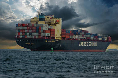 Photograph - Maersk Sealand Freighter Headed Out To Sea by Dale Powell