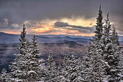 Photograph - Magalloway Mountain First Snow by Justin Wheeler