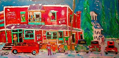 Painting - Magasin A. Guindon Val David 1950 by Michael Litvack