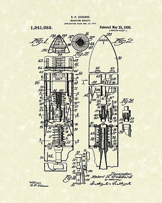 Rocket Drawing - Magazine Rocket 1920 Patent Art by Prior Art Design