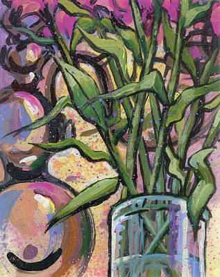 Painting - Magenta Bouquet On Mantel by Lesley Spanos