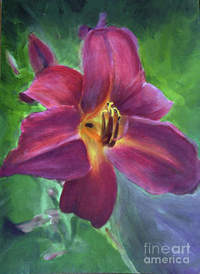 Painting - Magenta Daylily by Donna Walsh