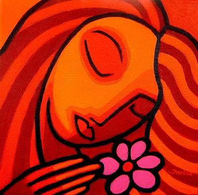 Inspirational Painting - Magenta Flower by John  Nolan