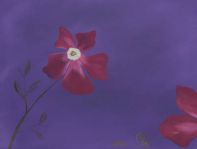 Painting - Magenta Flower On Plum Background by Stephen Daddona