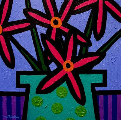 Bottle Painting - Magenta Flowers by John  Nolan