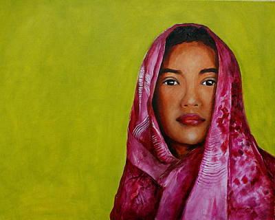Magenta Girl Art Print by Jun Jamosmos