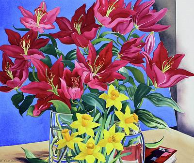 Magenta Lilies And Daffodils Art Print