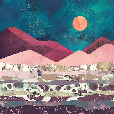 Mountain Digital Art - Magenta Mountain by Spacefrog Designs