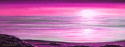 Magenta Panoramic Sunset Print by Gina De Gorna