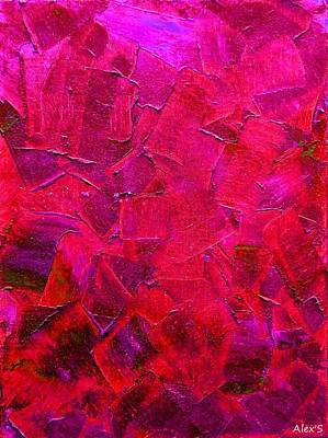 Painting - Magenta Variation Of Green Strokes by Alexandra Schumann