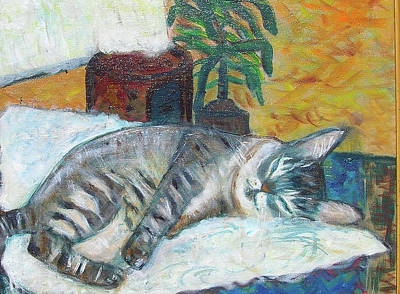 Painting - Maggie Sleeping by Carolyn Donnell