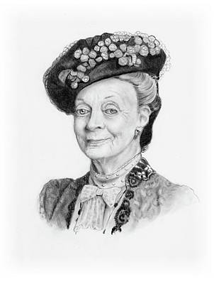 Drawing - Maggie Smith As The Dowager Countess, Downton Abbey by Joyce Geleynse