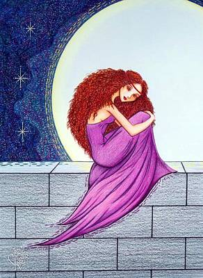 Red Gown Drawing - Maggie's Lullaby by Danielle R T Haney