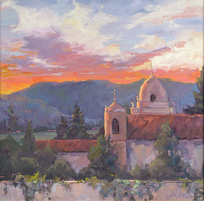 Carmel Mission Painting - Maggie's View by Cindy Wilbur