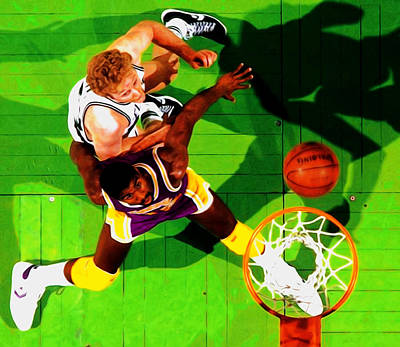 Larry Bird Mixed Media - Magic And Bird by Brian Reaves