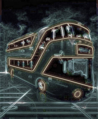 Tron Wall Art - Photograph - Magic Bus On The Grid by Mario Carini