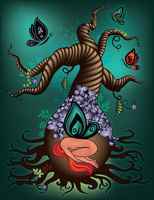 Magic Butterfly Tree Art Print