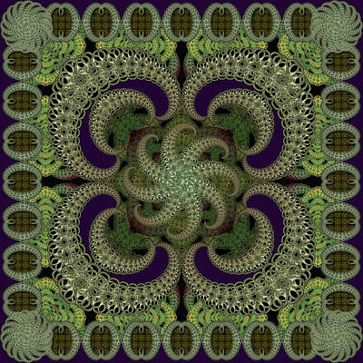 Digital Art - Magic Carpet Green by Deborah Runham