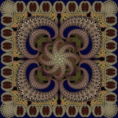 Digital Art - Magic Carpet Navy by Deborah Runham