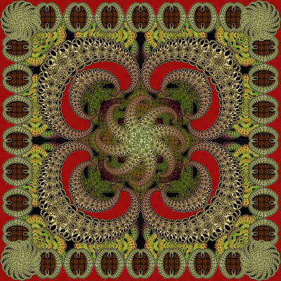 Digital Art - Magic Carpet Red by Deborah Runham
