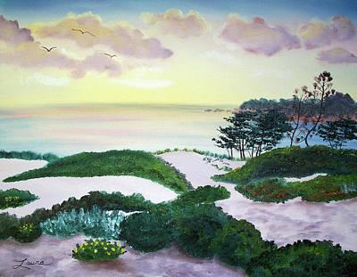 Sand Dunes Painting - Magic Dawn At A Hidden Beach by Laura Iverson