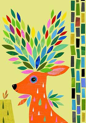 Magic Deer Art Print by Anne Vasko