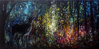 Waterfall Painting - Magic Forest by Ann Marie Bone