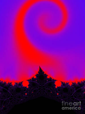 Digital Art - Magic Forest In Pink, Purple, Red And Black Fractal  by Tracey Everington