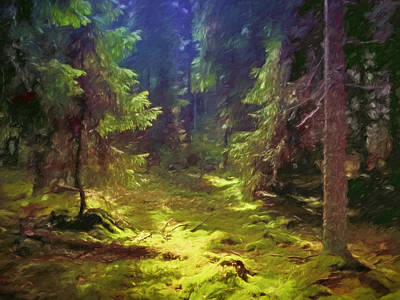 Green Fairy Painting - Magic Forest by Lutz Baar