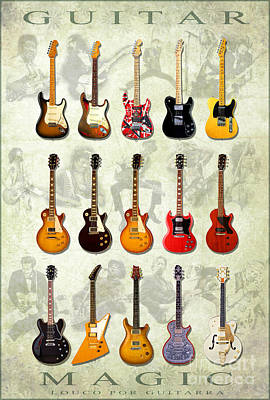 Reproductions Mixed Media - Magic Guitars by Pg Reproductions