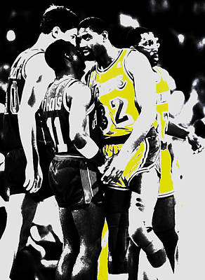 Magic Johnson Mixed Media - Magic Johnson And Isiah Thomas by Brian Reaves