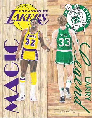 Larry Bird Drawing - Magic Johnson And Larry Bird by Chris Brown