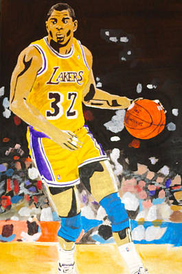 Lakers Painting - Magic Johnson by Estelle BRETON-MAYA