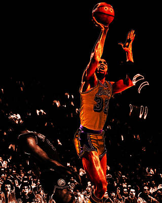 Larry Bird Digital Art - Magic Johnson Lean Back II by Brian Reaves